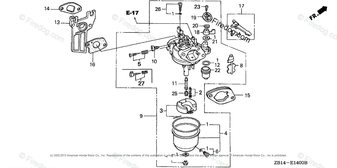 Honda Power Equipment Generator EG1400XK1 A/B GENERATOR