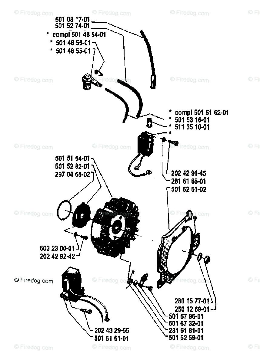 Husqvarna Chain Saw 61 (1981-02) OEM Parts Diagram for