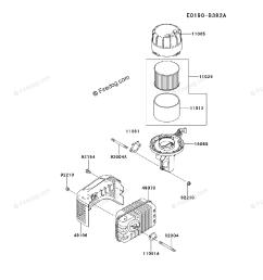 kawasaki 4 stroke engine fj180v oem parts diagram for air filter muffler firedog com [ 917 x 1200 Pixel ]