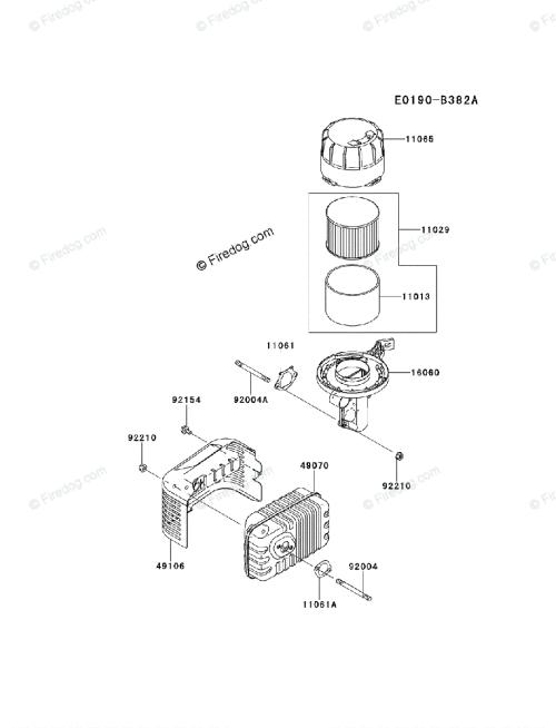 small resolution of kawasaki 4 stroke engine fj180v oem parts diagram for air filter muffler firedog com