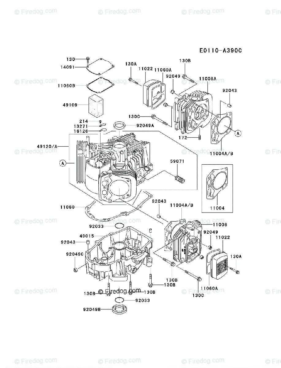 Kawasaki 4 Stroke Engine FH641V OEM Parts Diagram for