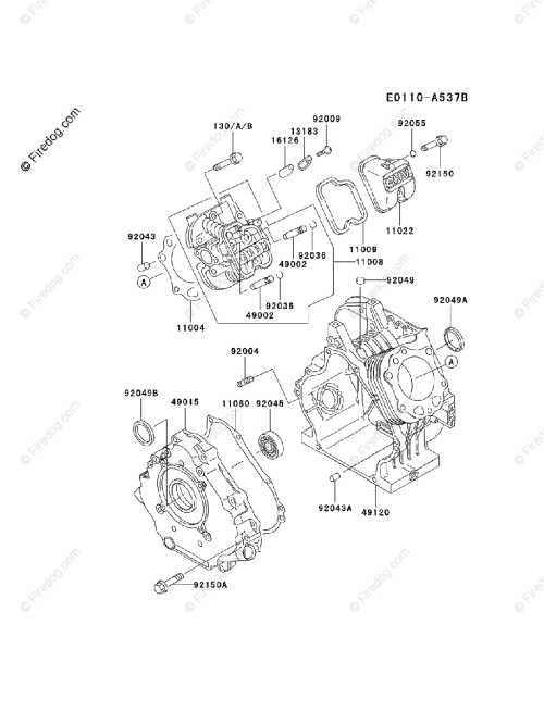 small resolution of kawasaki 4 stroke engine fe290d oem parts diagram for cylinder crankcase firedog com