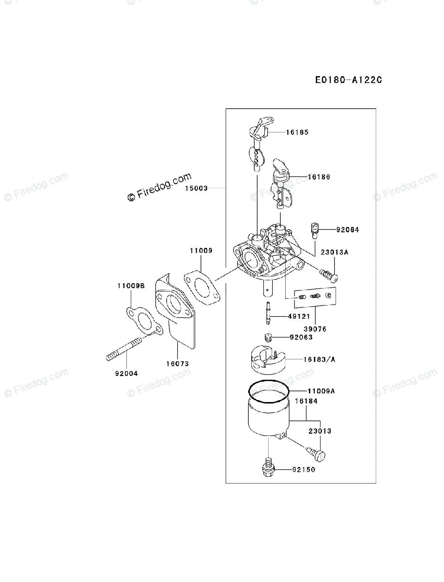 Kawasaki 4 Stroke Engine FE350D OEM Parts Diagram for