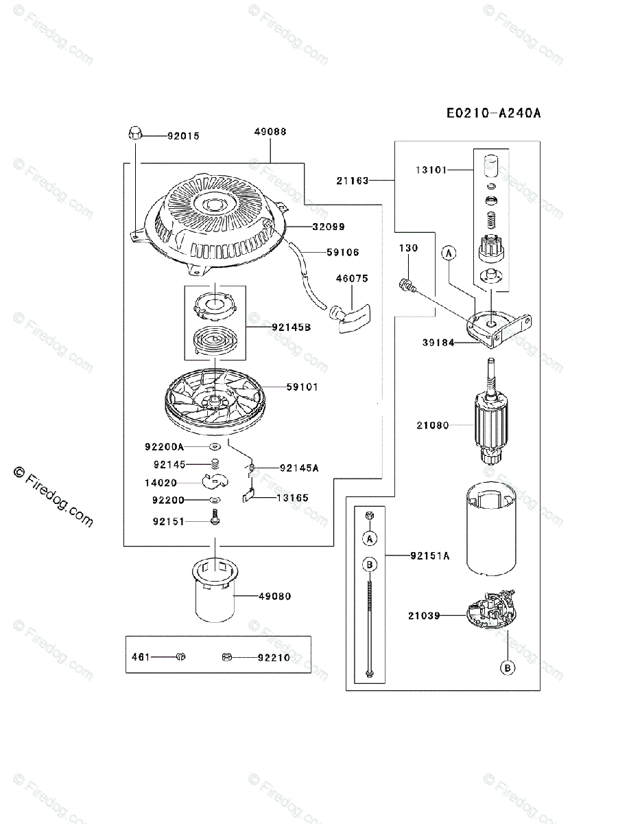 hight resolution of kawasaki 4 stroke engine fh500v oem parts diagram for starter firedog com
