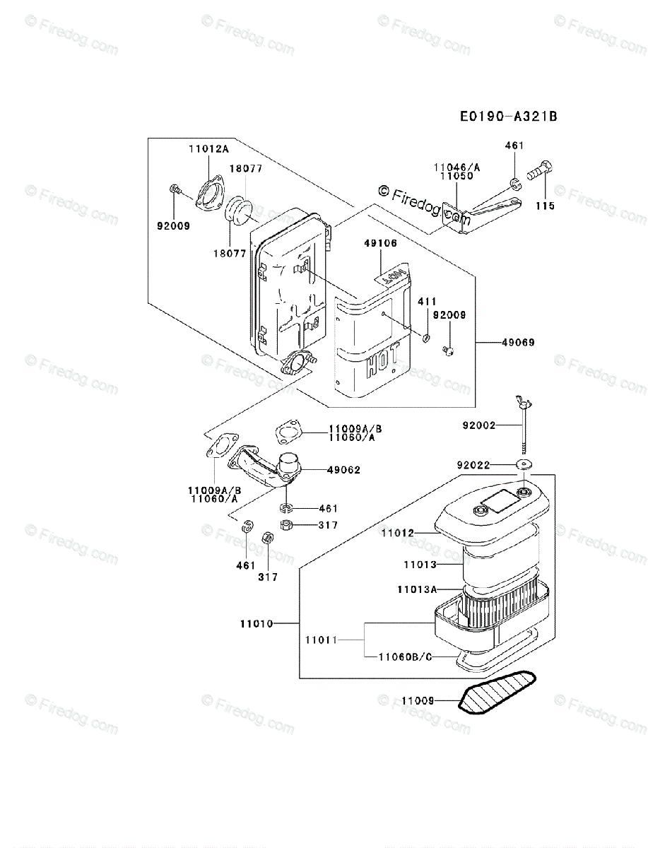Kawasaki 4 Stroke Engine FC420V OEM Parts Diagram for AIR