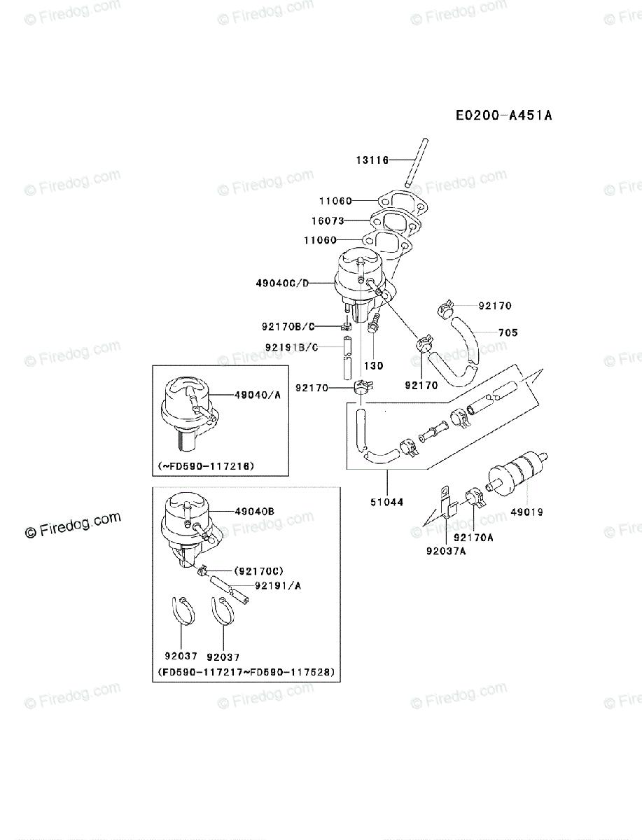 Kawasaki 4 Stroke Engine FD590V OEM Parts Diagram for FUEL