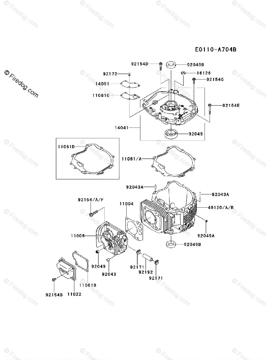 hight resolution of kawasaki 4 stroke engine fj180v oem parts diagram for cylinder crankcase firedog com