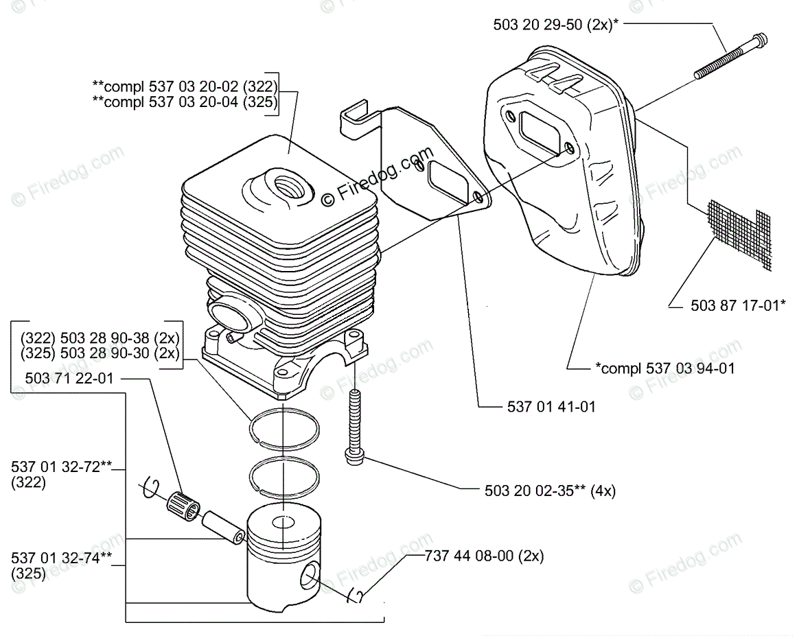 Husqvarna Line Trimmer 325 RJX (2000-01) OEM Parts Diagram