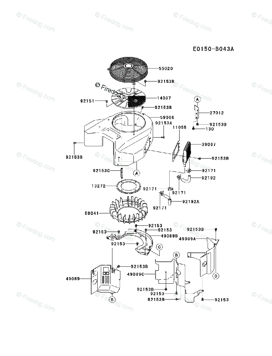 Kawasaki 4 Stroke Engine FX850V OEM Parts Diagram for