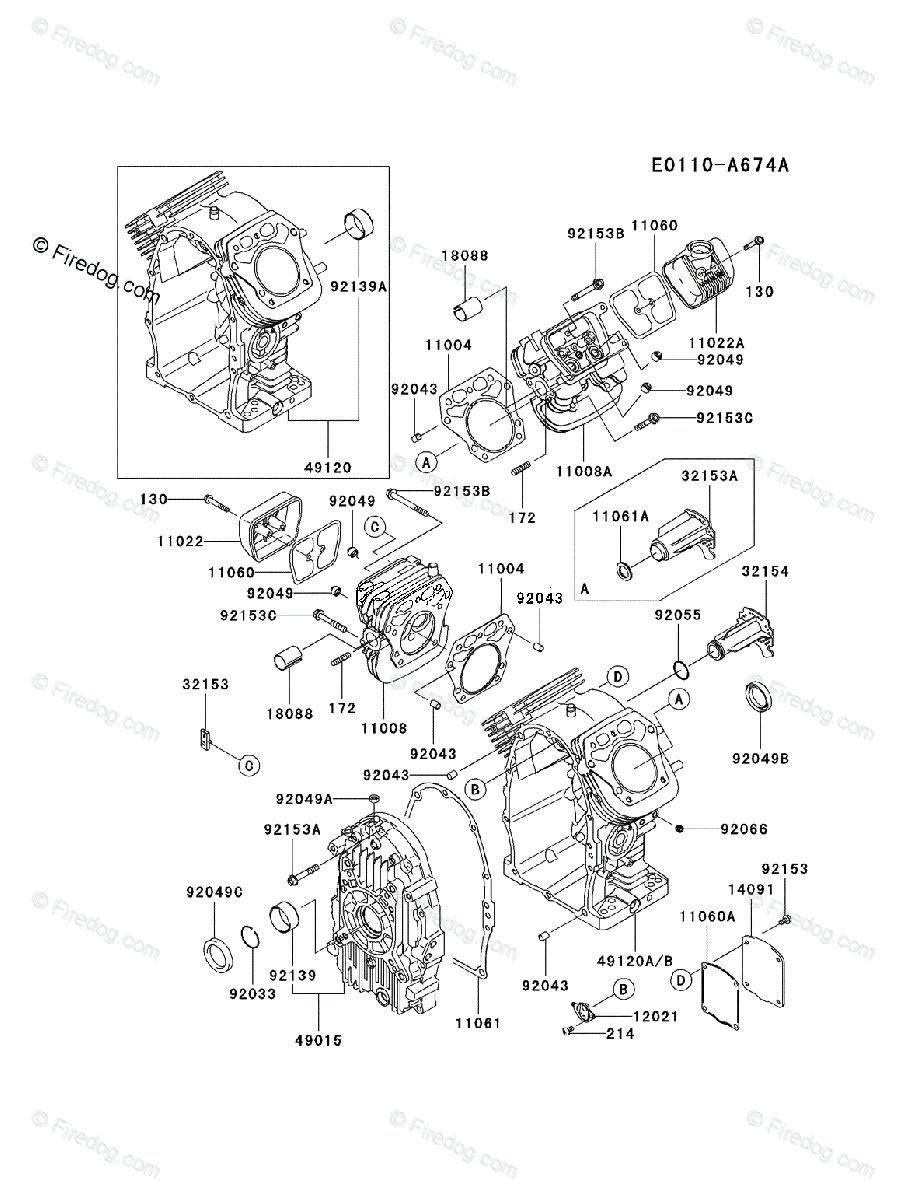 Kawasaki 4 Stroke Engine FH770D OEM Parts Diagram for