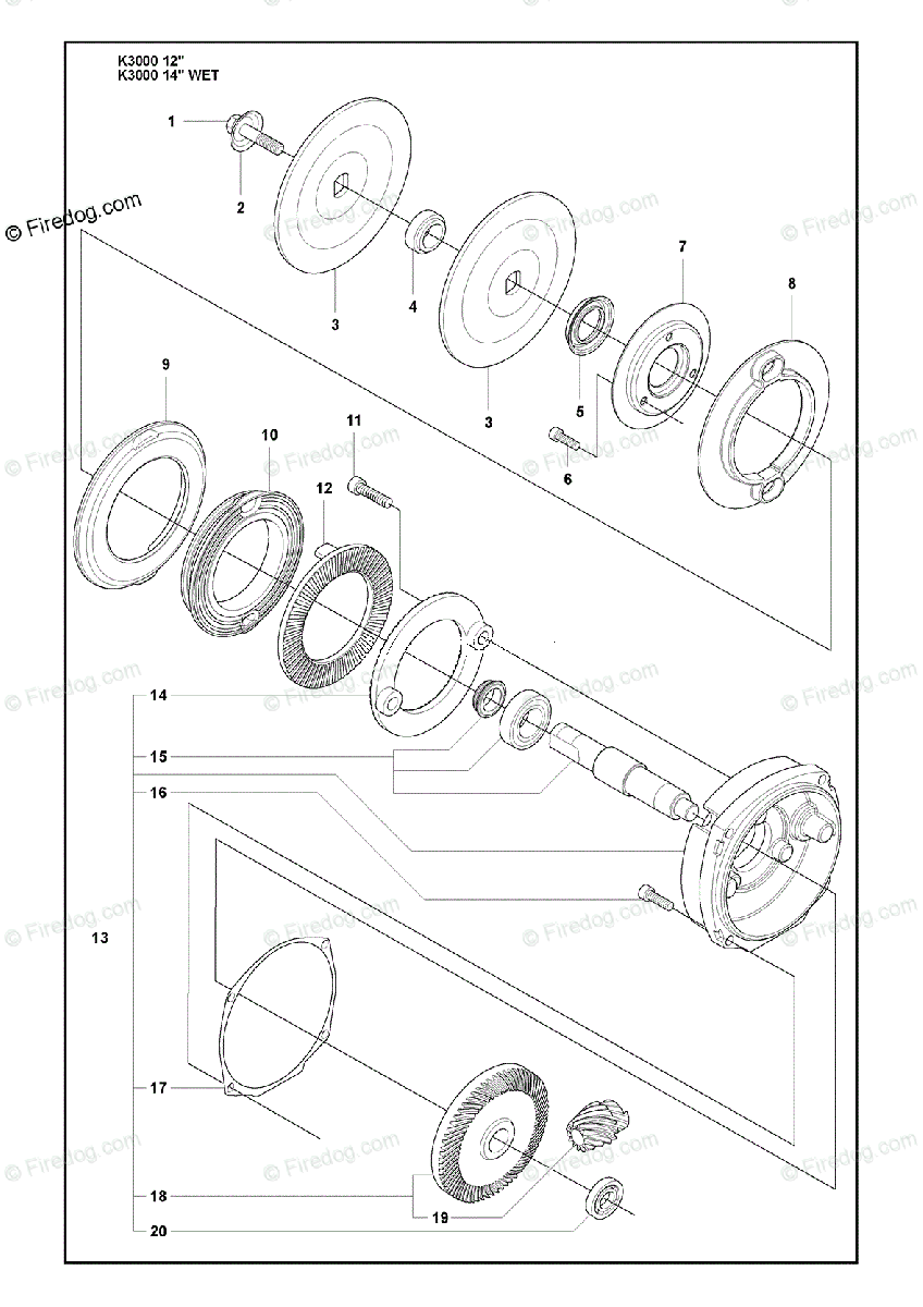 hight resolution of husqvarna power cutter k 3000 wet 2009 03 oem parts diagram for gear set and flange washer firedog com