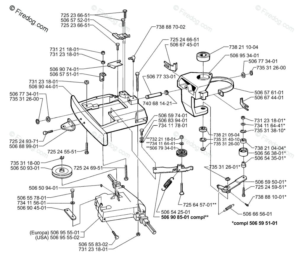 medium resolution of husqvarna lawn mower rider 970 1997 04 oem parts diagram for belt tensioner assembly firedog com
