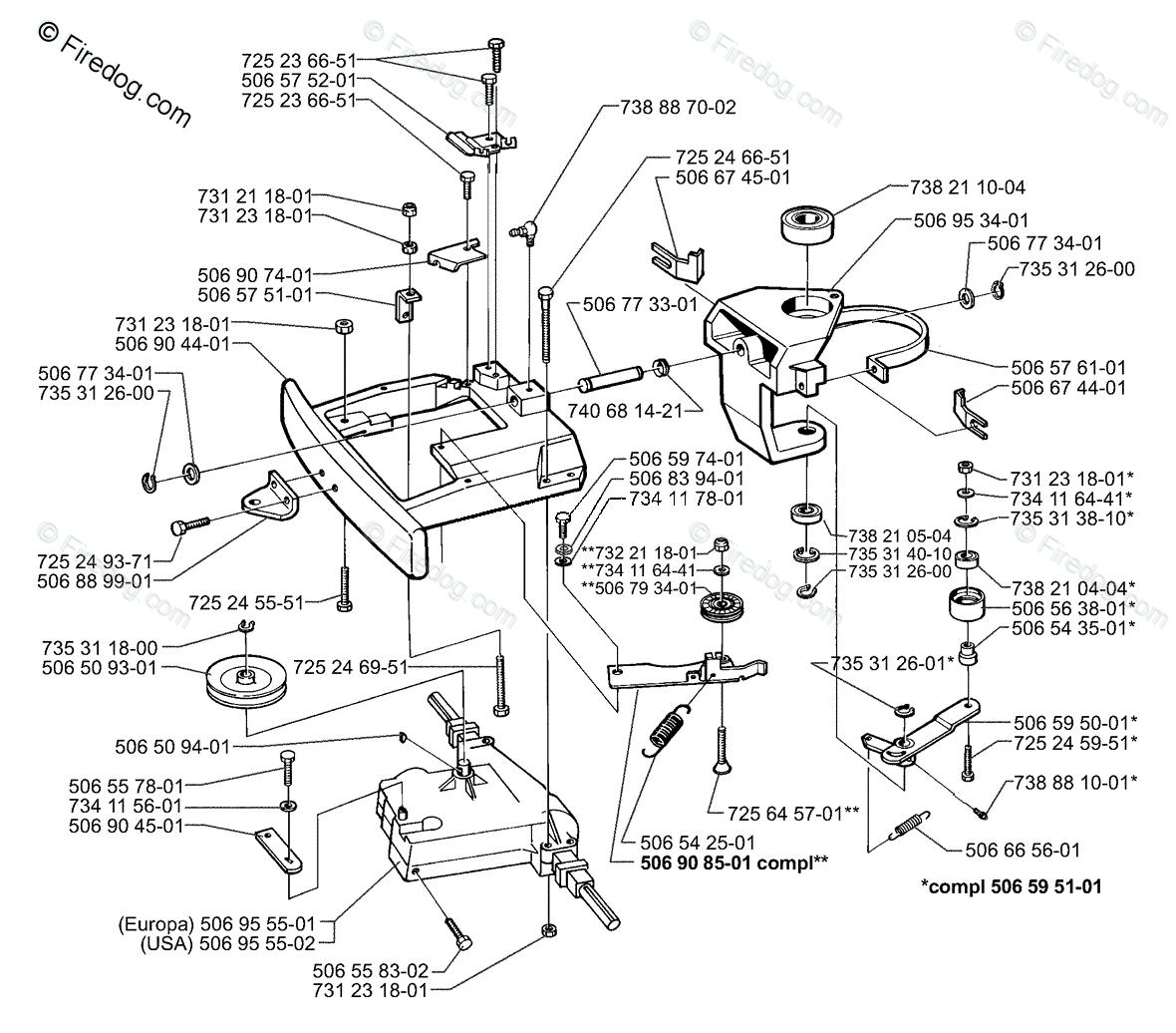 hight resolution of husqvarna lawn mower rider 970 1997 04 oem parts diagram for belt tensioner assembly firedog com