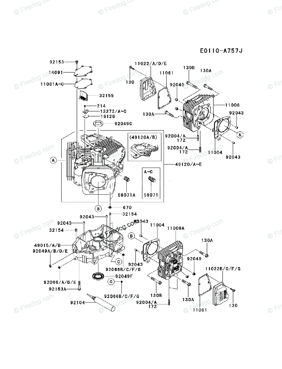 Kawasaki 4 Stroke Engine FR691V OEM Parts Diagram for