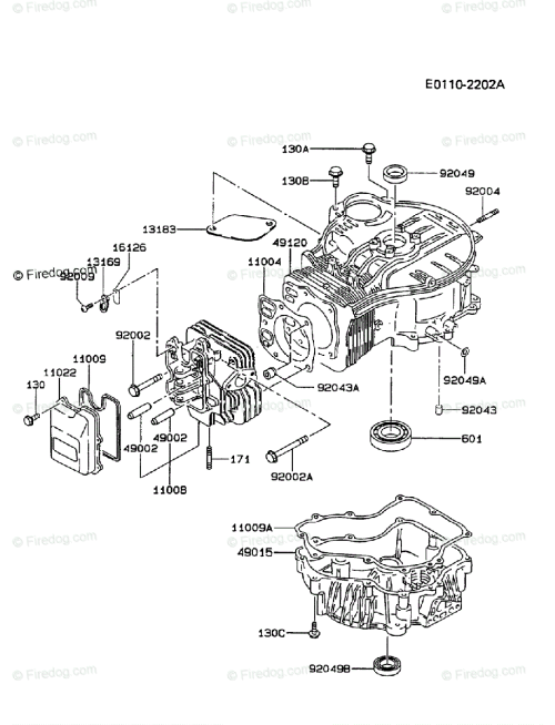 small resolution of kawasaki 4 stroke engine fc420v oem parts diagram for cylinder crankcase firedog com