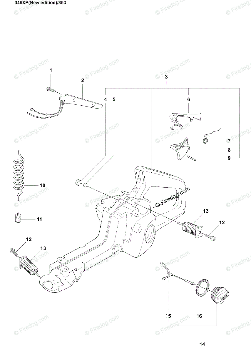 Husqvarna Chain Saw 346 XP (2007-08) OEM Parts Diagram for