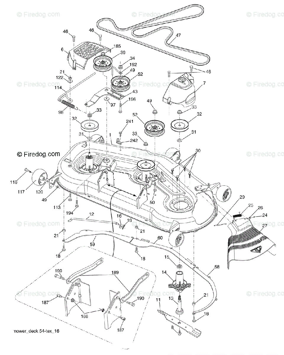 hight resolution of husqvarna ride mower lgt 2554 96045001500 2009 01 oem parts diagram for mower deck firedog com
