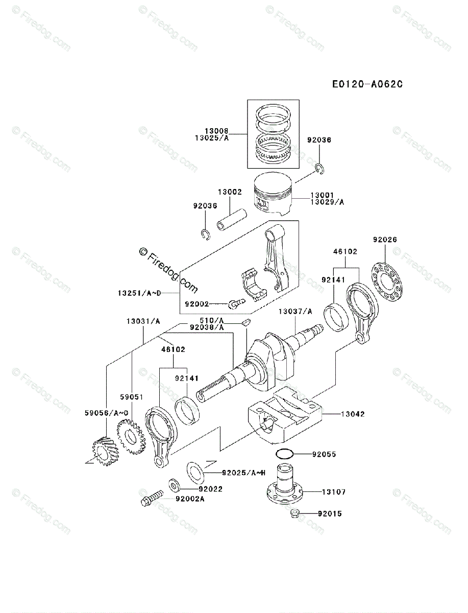 hight resolution of kawasaki 4 stroke engine fe290d oem parts diagram for piston crankshaft firedog com