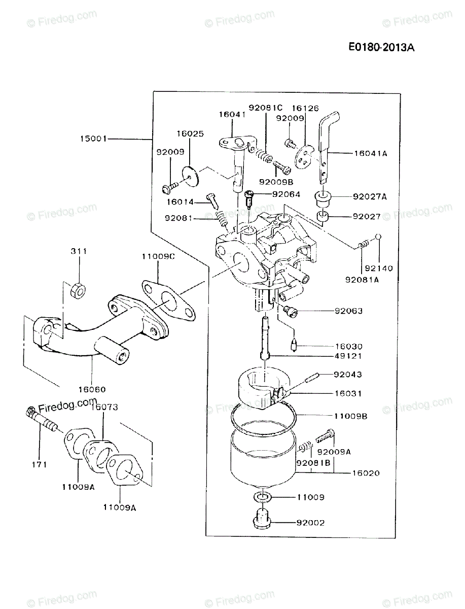 Kawasaki 4 Stroke Engine FA076D OEM Parts Diagram for