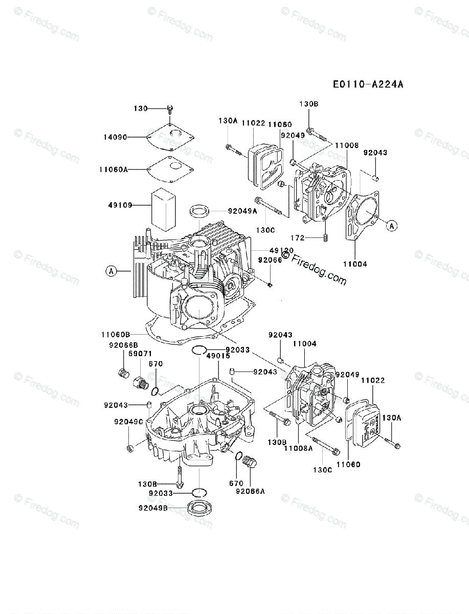 Kawasaki 4 Stroke Engine FH500V OEM Parts Diagram for