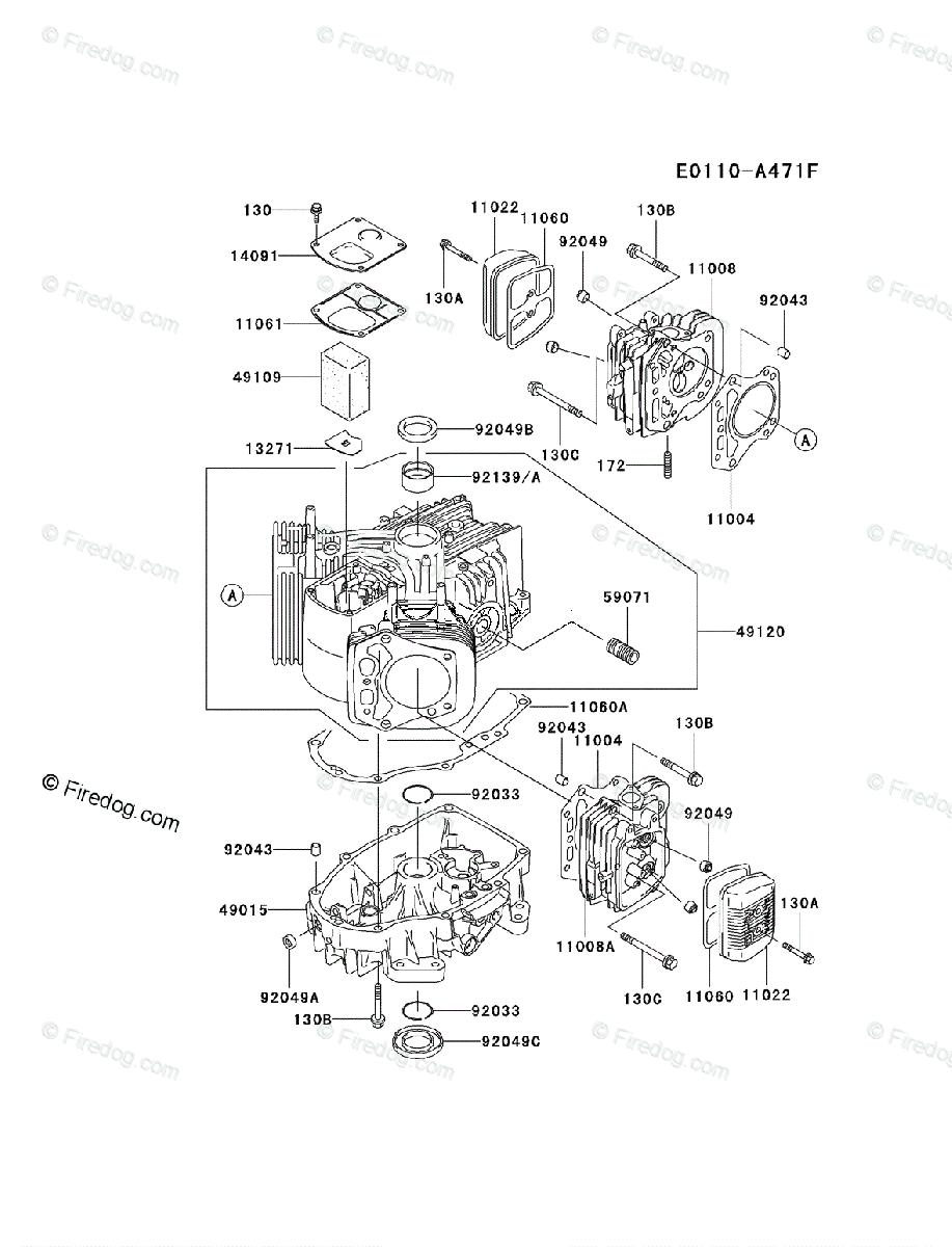 medium resolution of kawasaki 4 stroke engine fh500v oem parts diagram for cylinder crankcase firedog com