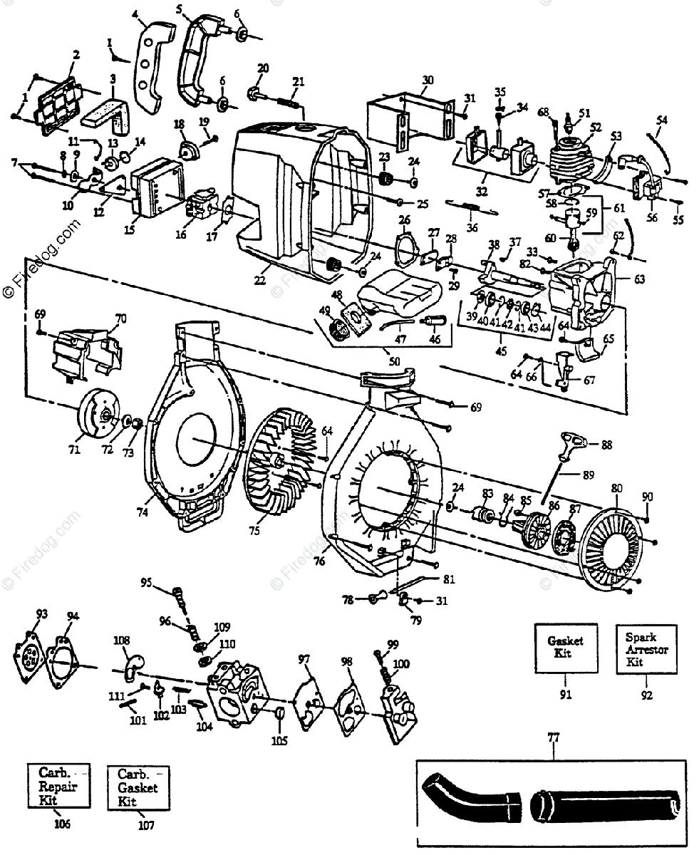 Husqvarna Blower 122 HBV (1992-01) OEM Parts Diagram for