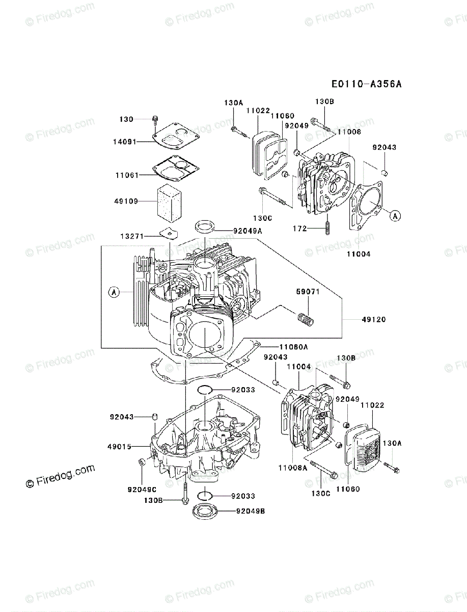 Kawasaki 4 Stroke Engine FH500V OEM Parts Diagram for