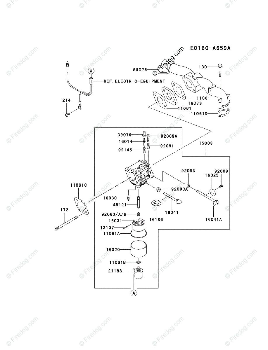 Kawasaki 4 Stroke Engine FH580V OEM Parts Diagram for