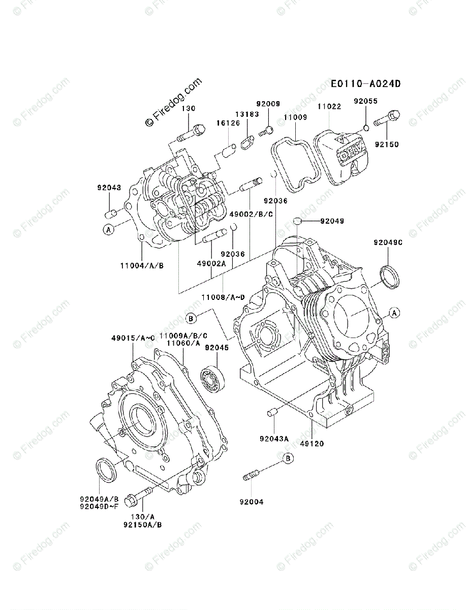Kawasaki 4 Stroke Engine FE290D OEM Parts Diagram for