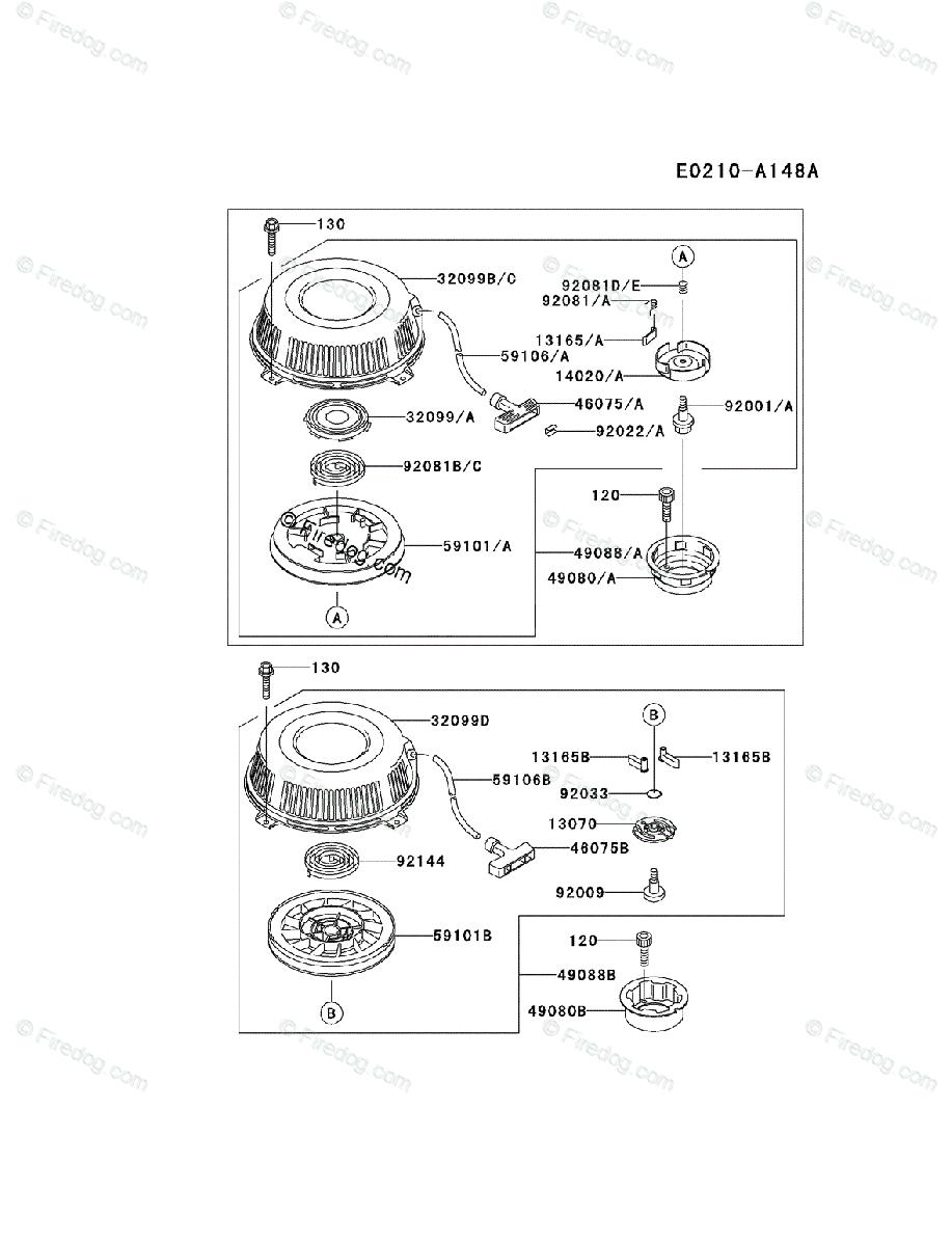 medium resolution of kawasaki 4 stroke engine fb460v oem parts diagram for starter firedog com