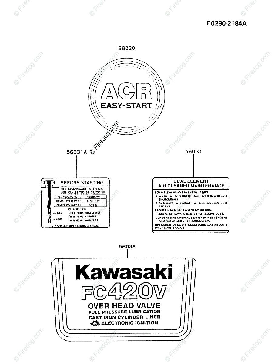 Kawasaki 4 Stroke Engine FC420V OEM Parts Diagram for