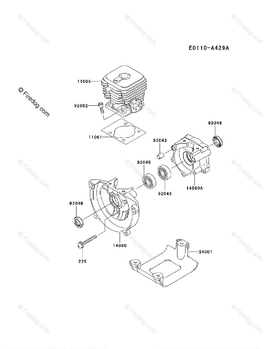 Kawasaki Brush Cutter KBL27A OEM Parts Diagram for