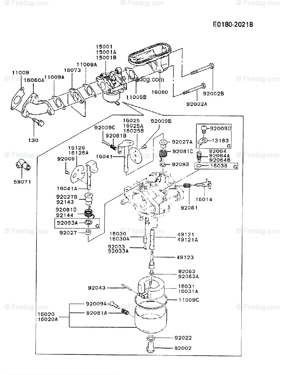 Kawasaki 4 Stroke Engine FB460V OEM Parts Diagram for