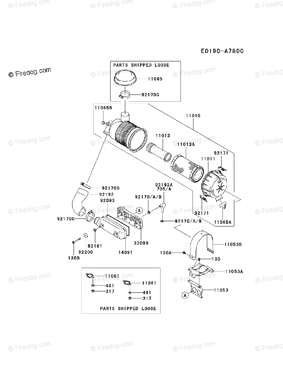 Kawasaki 4 Stroke Engine FD731V OEM Parts Diagram for AIR
