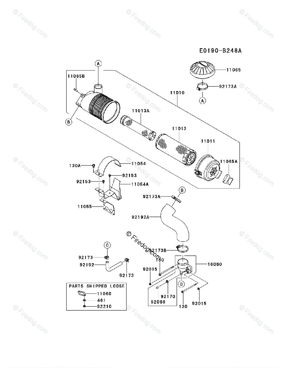 Kawasaki 4 Stroke Engine FX850V OEM Parts Diagram for AIR