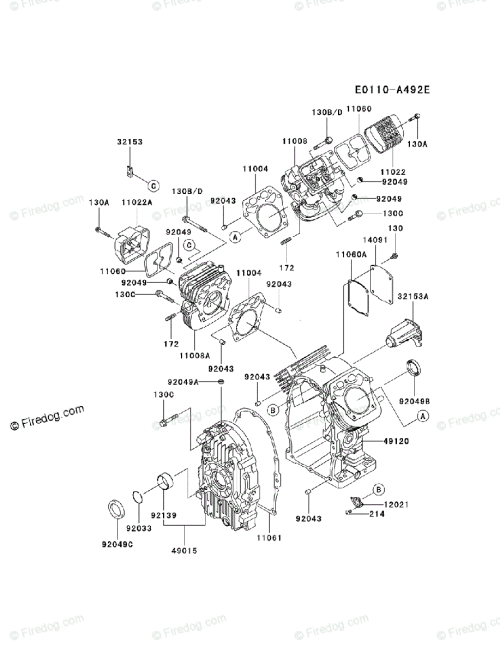 small resolution of kawasaki 4 stroke engine fh721d oem parts diagram for cylinder crankcase firedog com