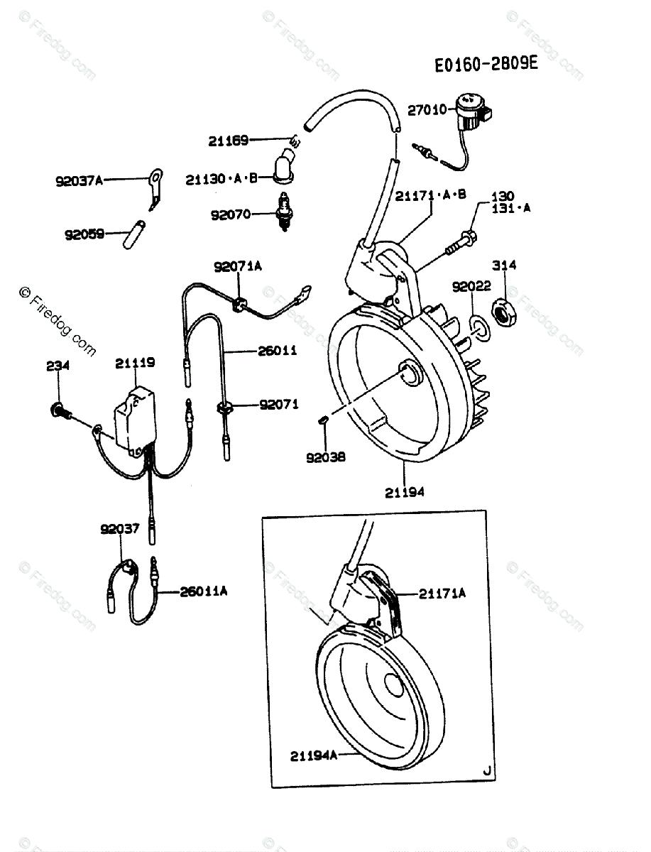 Kawasaki 4 Stroke Engine FA210D OEM Parts Diagram for