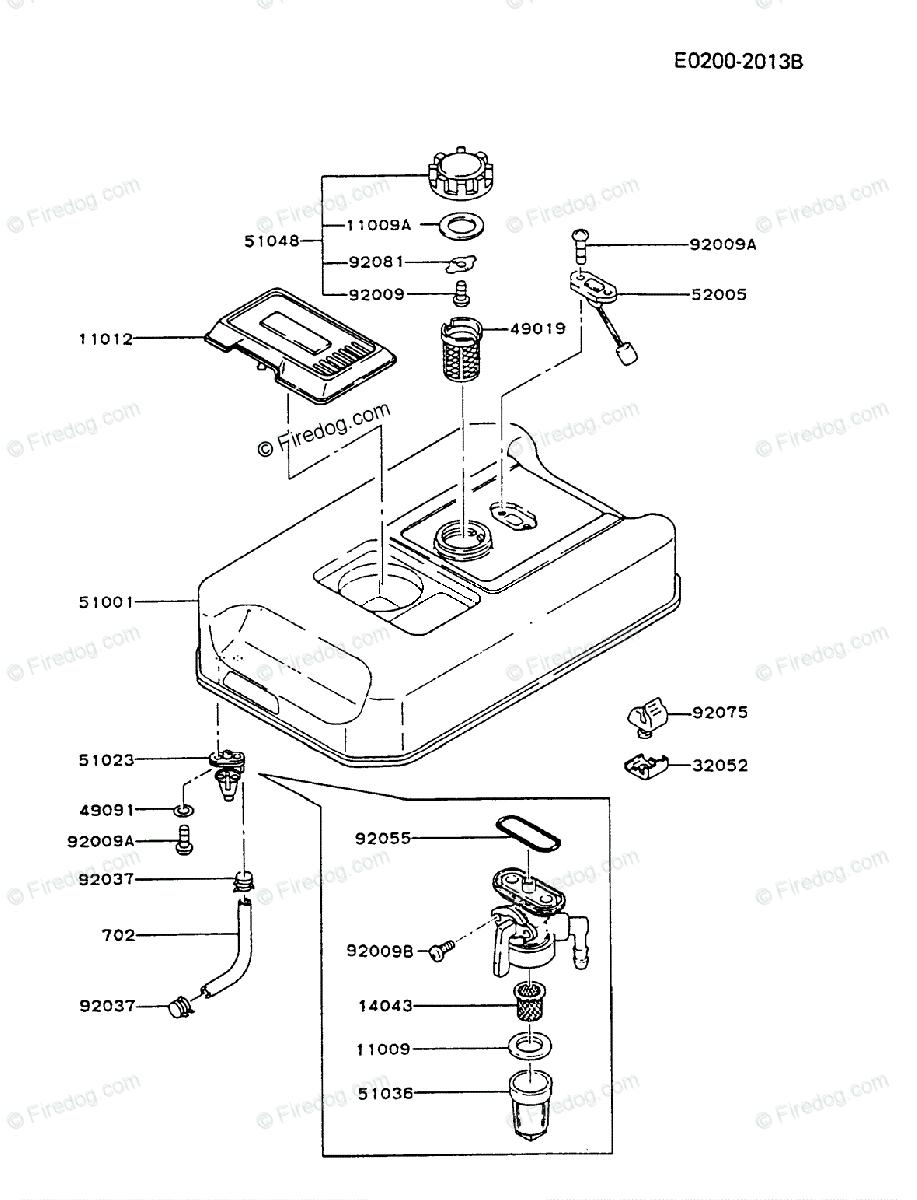 Kawasaki Generator GA1800A OEM Parts Diagram for FUEL TANK