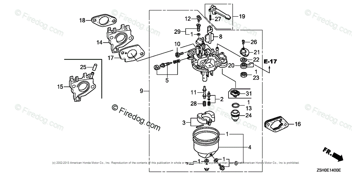 Honda Engines Engine GX OEM Parts Diagram for CARBURETOR