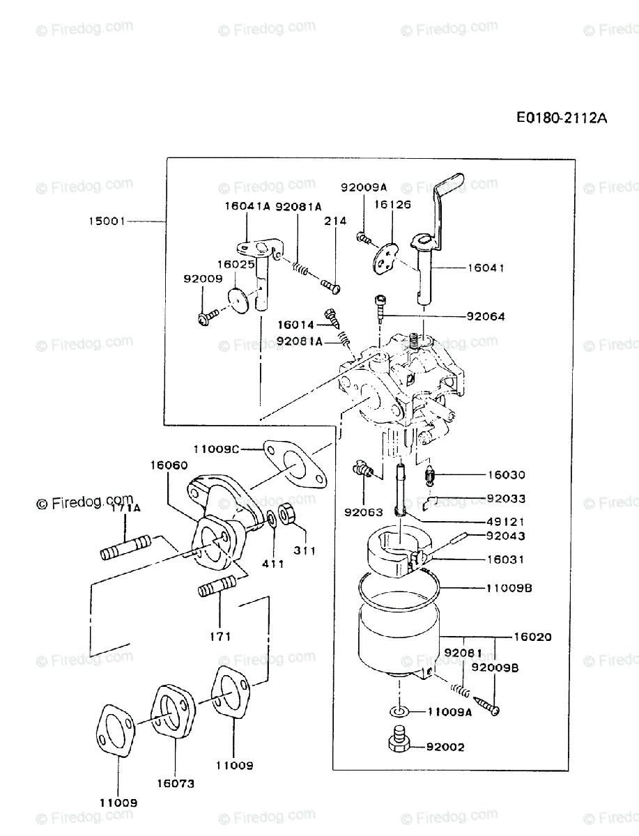 Kawasaki 4 Stroke Engine FA130D OEM Parts Diagram for