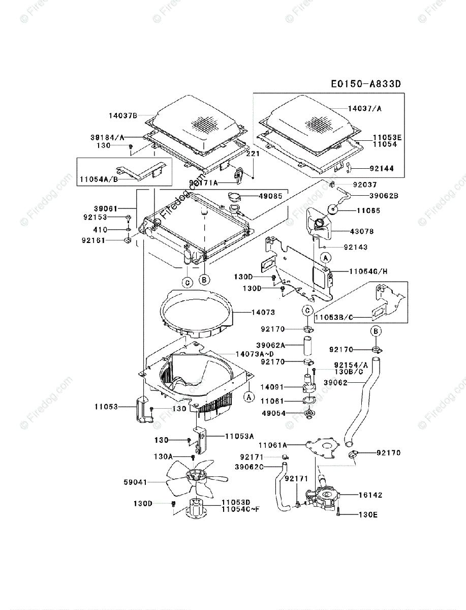 Kawasaki 4 Stroke Engine FD731V OEM Parts Diagram for