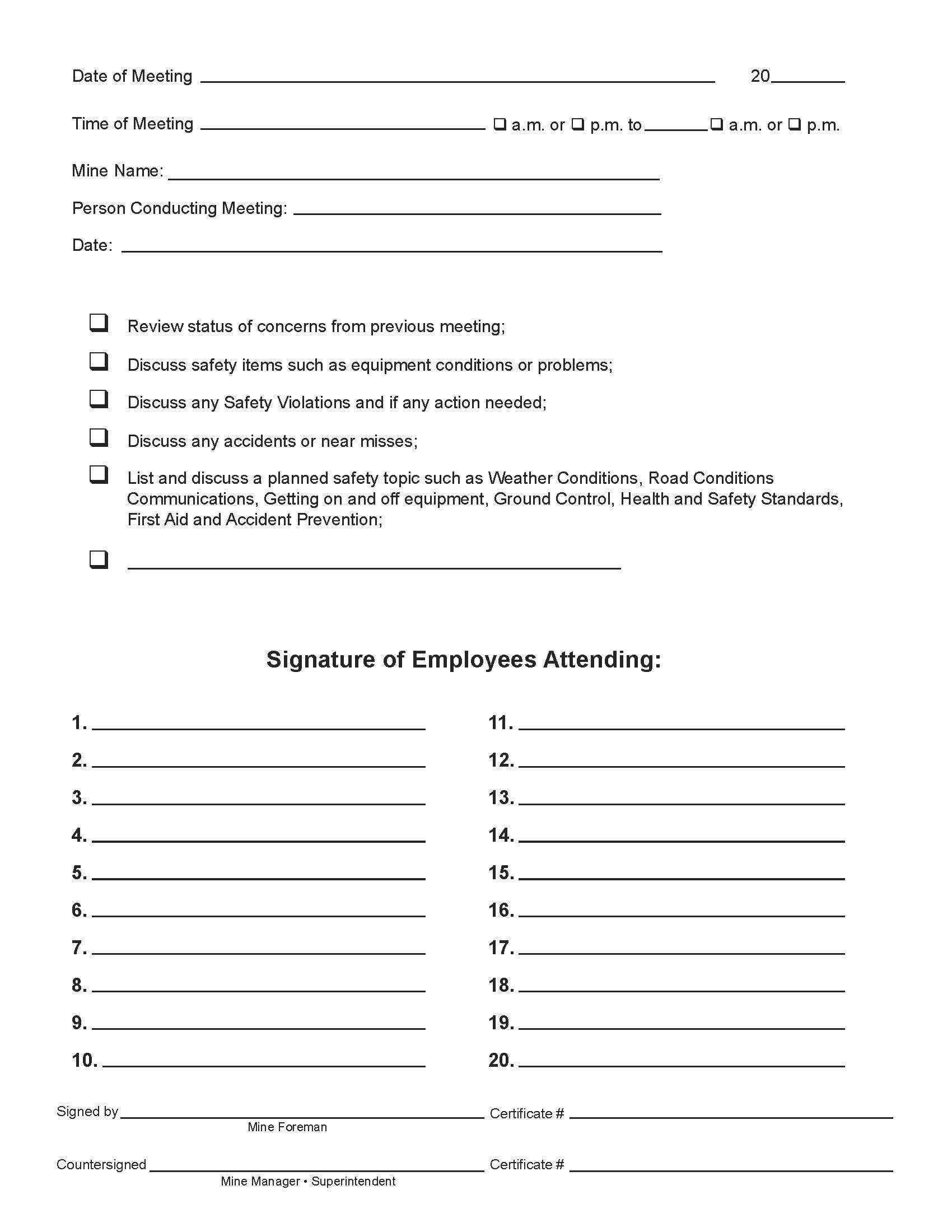 Safety Meeting Forms Free Download December Calendar