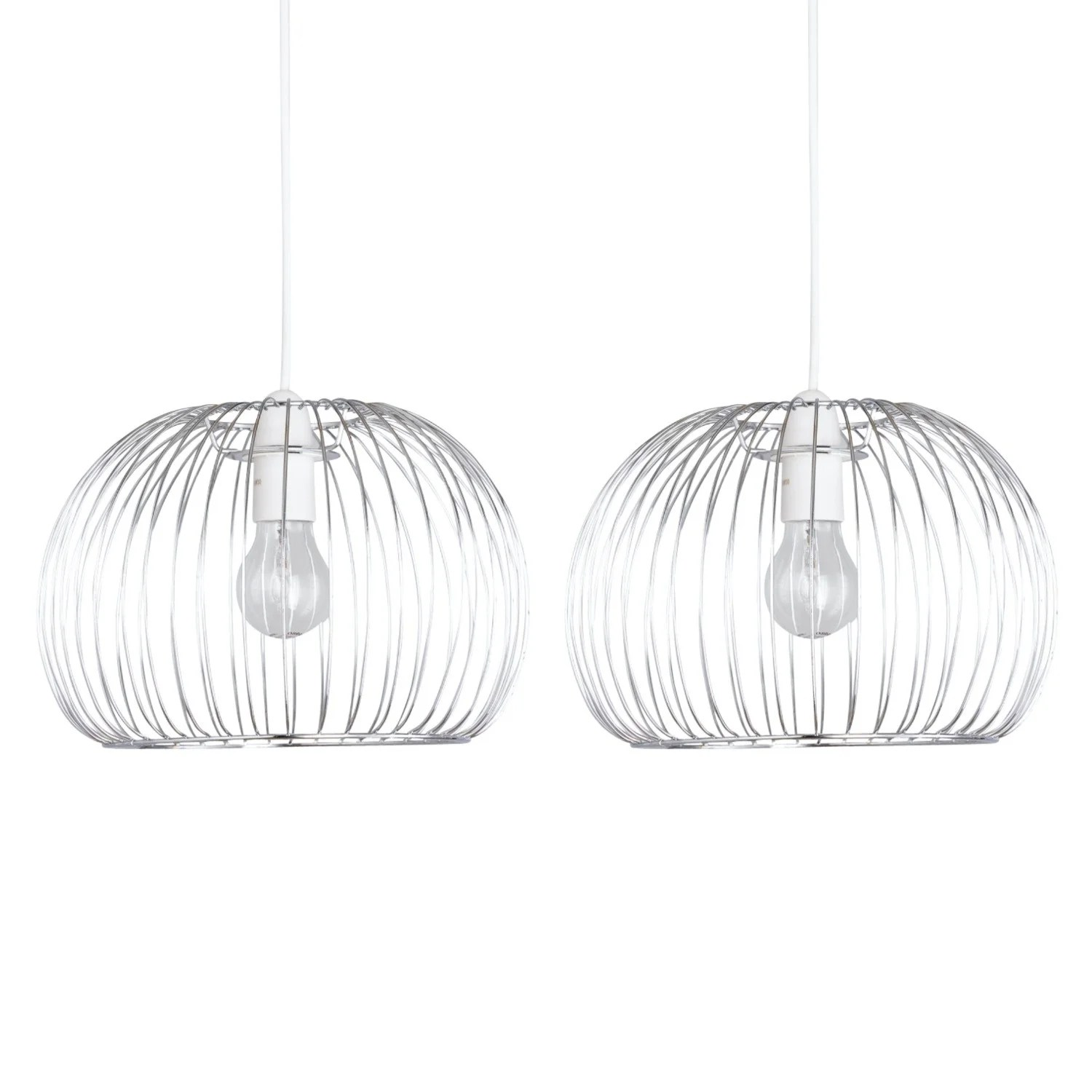 Set of 2 Polished Chrome Wire Easy Fit Light Shades
