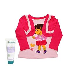 Himalaya Baby Cream with Full Sleeves Top - Dora The Explorer Combo (Set of 2)