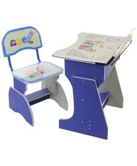 Kids Study Table With Chair Cartoon Print Blue And Cream