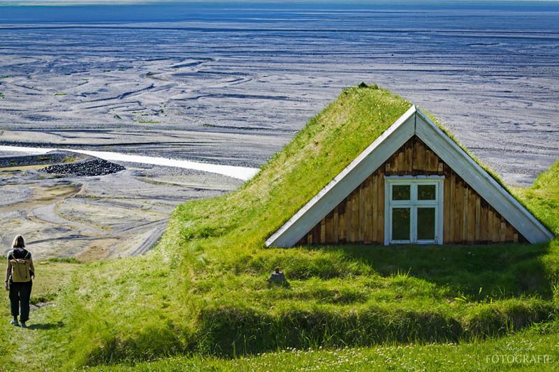 Национальный парк Ватнайёкюдль, Исландия  дом, крыша, озеленение, скандинавия