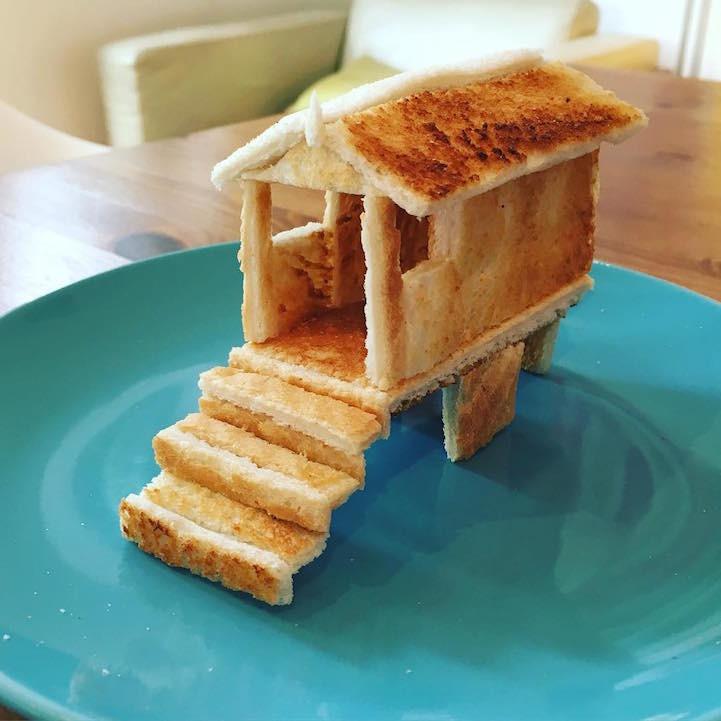 Папа создаёт умопомрачительные скульптуры из тостов для своей дочери с пищевой аллергией аллергия, еда, скульптуры, тост