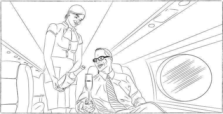 Должна присесть, чтобы быть ниже пассажира интервью, самолет, стюардесса
