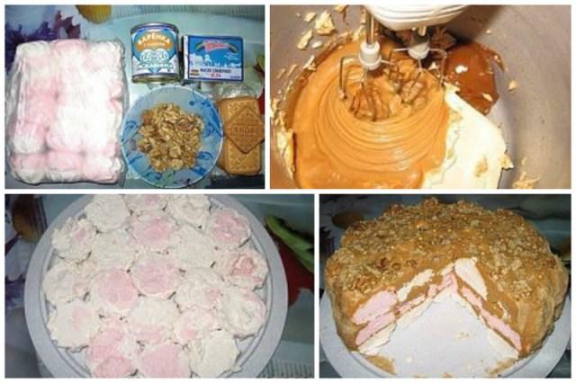 Торт с зефиром (принцип тот же, что и предыдущие, но вместо печенек -зефирки) без выпечки, вкусно, интересно, рецепты, сладости