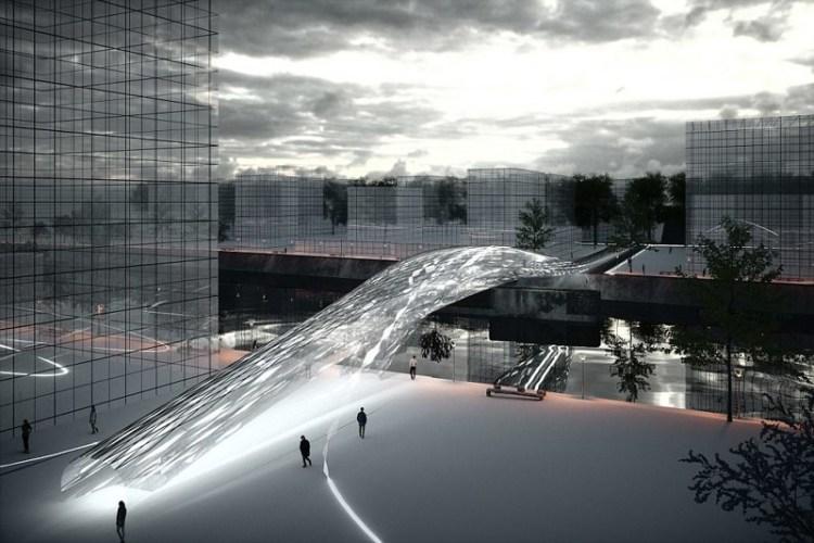 Пешеходный мост Brommy, Берлин архитектура, дома, здания будущего, красота, необычно, проекты, строения, творчество